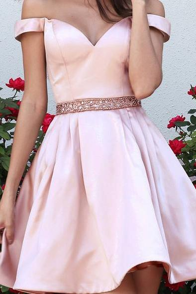 Pink Off the Shoulder Homecoming Dresses, Satin Homecoming Dresses, Beaded Belt Homecoming Dresses, New Design Homecoming Dress,Knee Length Homecoming Dresses,Junior Graduation Dress,Short Party Dress,Special Occasion Dress,