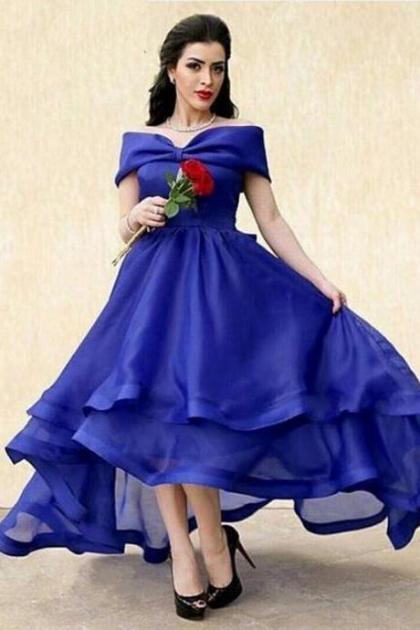 Royal Blue Prom Dress,High Low Prom Dresses,Off the Shoulder Evening Dresses,Prom Dress 2017,Modest Prom Gowns,Floor Length Prom Dress,Women Dresses,Special Occasion Dress,Short sleeve Evening Dress,
