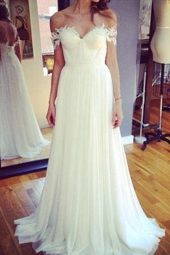 Custom Made White Off-Shoulder with Lace Applique Chiffon Wedding Dress, Prom Dress
