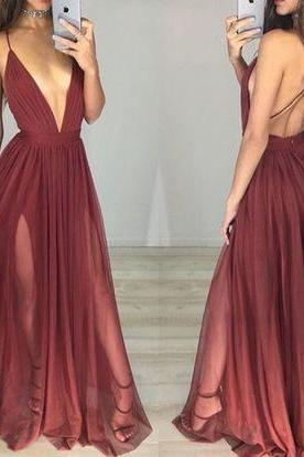 2017 Custom Charming Chiffon Prom Dresses,Sexy Spaghetti Straps Evening Dress,Deep V-Neck Prom Dresses,Beauty Evening Dresses,Long Prom Dresses,Evening Dresses, Prom DressesCocktail Dresses, formal dresses,Special Occasion Dress