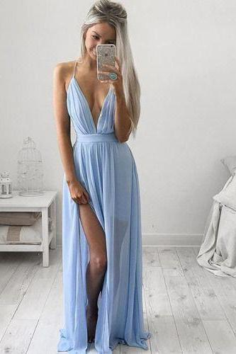 Sexy Spaghetti Straps Evening Dress,Deep V-Neck Prom Dresses,Beauty Evening Dresses,Blue Chiifon Long Prom Dresses,Evening Dresses 2017, Prom Dresses2017,Cocktail Dresses, formal dresses,Special Occasion Dress