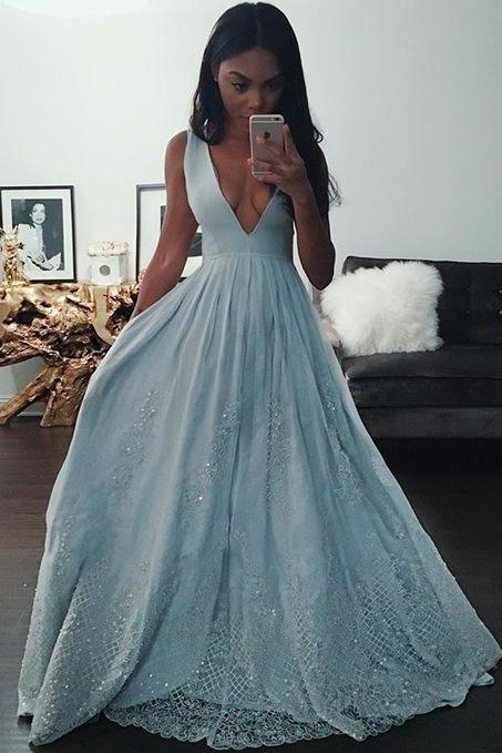 New Arrival Blue Deep V-Neck Prom Dress,A-line Prom Dresses,Long Evening Dresses,Prom Dress 2017,Modest Prom Gowns,Floor Length Prom Dress,Women Dresses,Special Occasion Dress,Sleeveless Evening Dress,