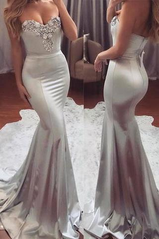 New Arrival Sliver Sweetheart Prom Dress,Mermaid Prom Dresses,Long Evening Dresses,Prom Dress 2017,Modest Prom Gowns,Floor Length Prom Dress,Women Dresses,Special Occasion Dress,Sleeveless Evening Dress,
