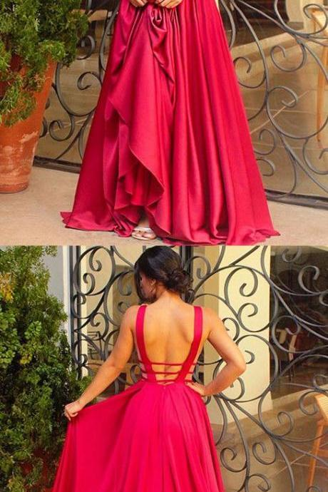 New Arrival Red Deep V-Neck Prom Dress,A-line Prom Dresses,Long Evening Dresses,Prom Dress 2017,Modest Prom Gowns,Floor Length Prom Dress,Women Dresses,Special Occasion Dress,Sleeveless Evening Dress,