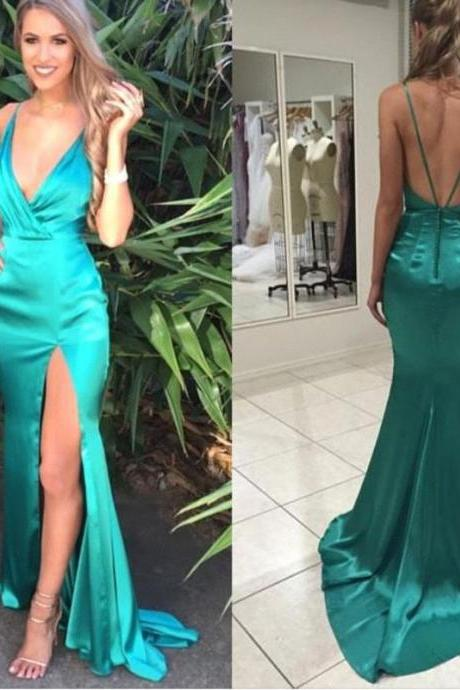 New Arrival Green High Split Prom Dress,Sexy Backless Prom Dresses,Long Evening Dresses,Prom Dress 2017,Modest Prom Gowns,Floor Length Prom Dress,Women Dresses,Special Occasion Dress,Spaghetti Strap Evening Dress,