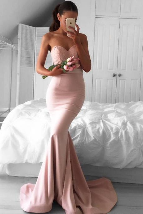 New Arrival Pink Sweetheart Prom Dress,Mermaid Prom Dresses,Long Evening Dresses,Prom Dress 2017,Modest Prom Gowns,Floor Length Prom Dress,Women Dresses,Special Occasion Dress,Sleeveless Evening Dress,
