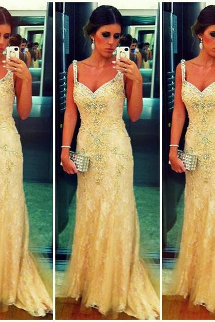 New Arrival Gold Lace Prom Dress,Mermaid Prom Dresses,Long Evening Dresses,Beaded Prom Dress 2017,Modest Party Gowns,Sexy Backless Prom Dress,Women Dresses,Special Occasion Dress, Evening Dress 2017,