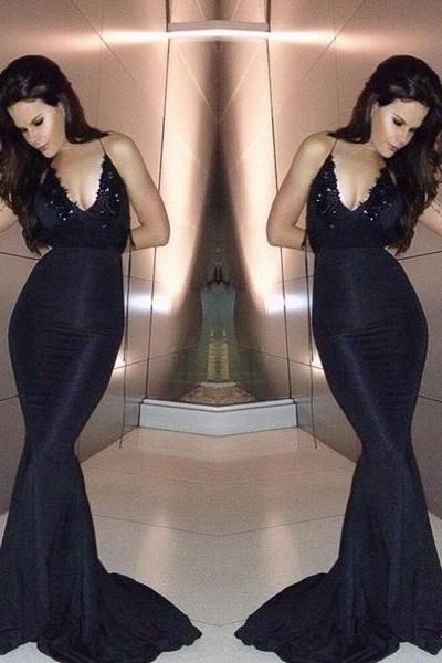 New Arrival Black Mermaid Evening Dress,Spaghetti Strap Prom Dresses,Long Evening Dresses,Prom Dress 2017,Modest Party Gowns,Backless Prom Dress,Women Dresses,Special Occasion Dress, Evening Dress 2017,