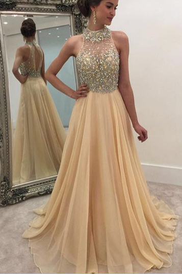 Beige Beaded Evening Dress,A-Line Prom Dress,High Neck Prom Dresses,Long Evening Dresses,Prom Dress 2017,Modest Party Gowns,Floor Length Prom Dress,Women Dresses,Special Occasion Dress, Evening Dress 2017,