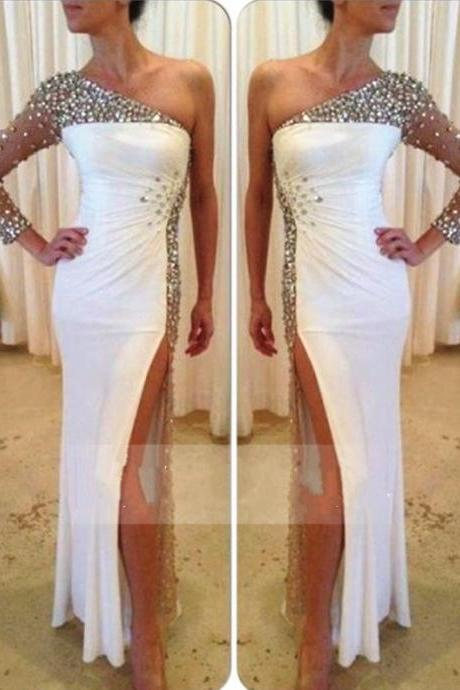 One Shoulder Evening Dress,Beaded Prom Dress,High Split Prom Dresses,White Long Evening Dresses,Prom Dress 2017,Modest Party Gowns,Floor Length Prom Dress,Women Dresses,Special Occasion Dress, Evening Dress 2017,