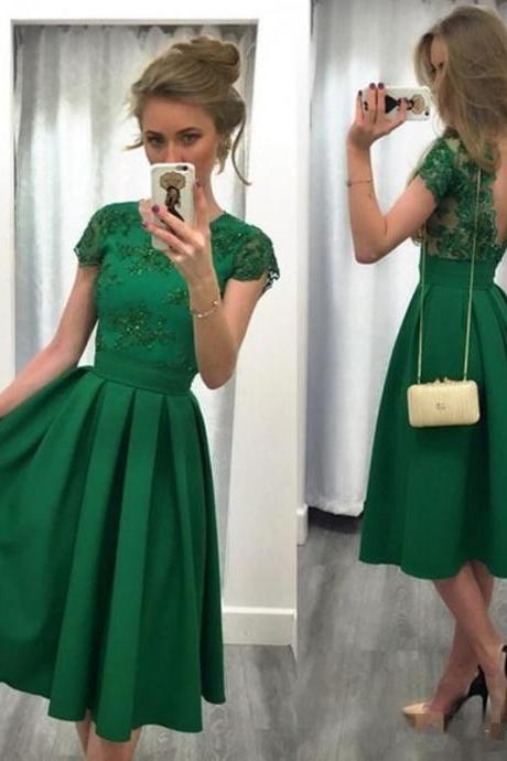 Green Knee-Length Prom Dress,A-line Short Prom Dresses,Short Sleeve Prom Dress 2017,Modest Party Gowns,Women Dresses,Special Occasion Dress, Evening Dress 2017,