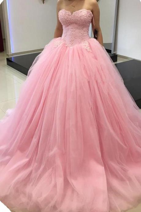 Pink Tulle Ball Gown Evening Dress,Sweetheart Prom Dress,Sleeveless Prom Dresses,Long Evening Dresses,Prom Dress 2017,Modest Party Gowns,Floor Length Prom Dress,Women Dresses,Special Occasion Dress, Evening Dress 2017,