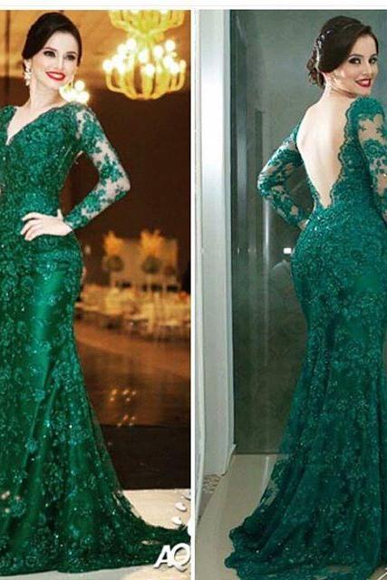 Dark Green Monther of Bride Dress ,Mermaid Prom Dresses,V-Neck Long Sleeve Long Evening Dresses,Modest Party Gowns,Sexy Backless Prom Dress,Women Dresses,Special Occasion Dress,
