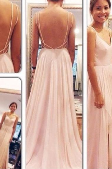 Sexy Chiffon Floor Length Spaghetti Straps V Neck Light Pink Open Back Prom Dress , Party Dresses, Dresses, Evening Dresses, Long Prom Dress 2016
